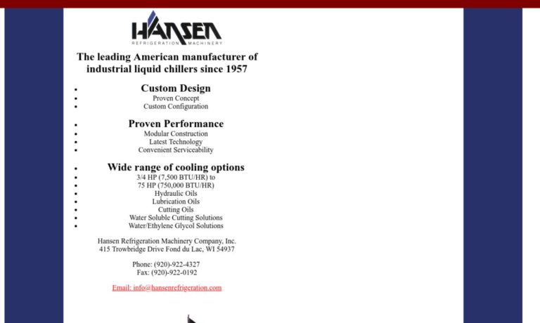 Hansen Refrigeration Machinery Company, Inc.